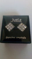 Large glass crystal square earrings (Code 3319)